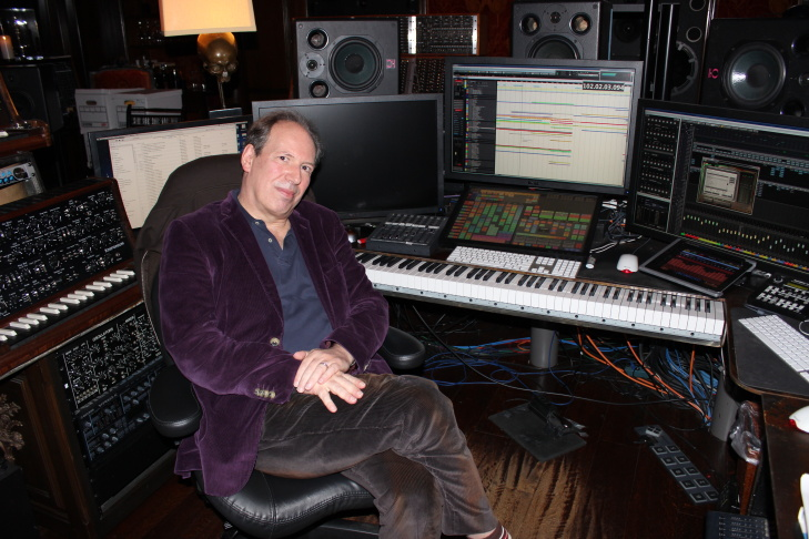 Hans Zimmer poses in his Santa Monica studio. This is where he composes his film scores before recording them with musicians.