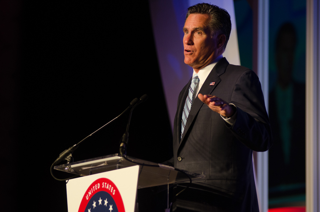 Republican presidential candidate Mitt Romney speaks at the U.S. Hispanic Chamber of Commerce's 33rd annual national convention at the JW Marriott Hotel in Los Angeles.