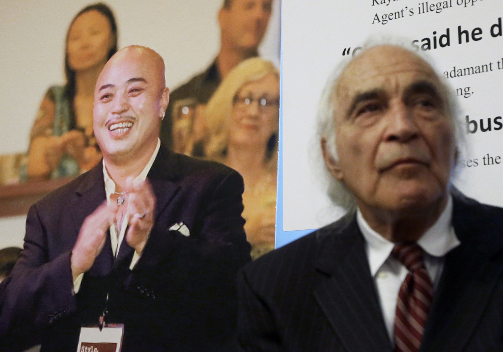 FILE - In this April 10, 2014 file photo, Tony Serra, right, former attorney for Raymond Chow, known as