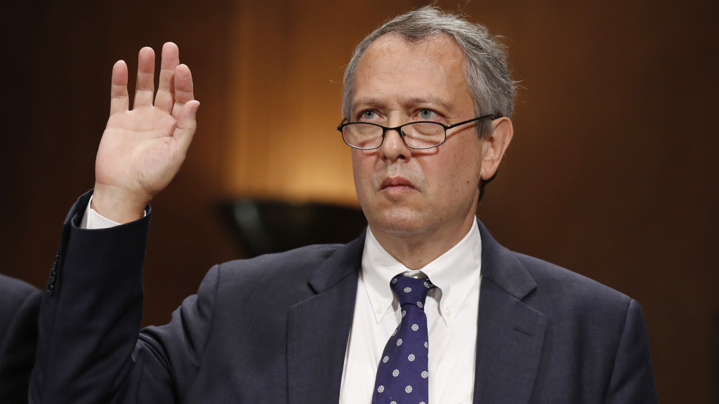Thomas Farr is sworn in during a Senate Judiciary Committee hearing in September 2017 on his nomination to be a district judge on the United States District Court for the Eastern District of North Carolina.