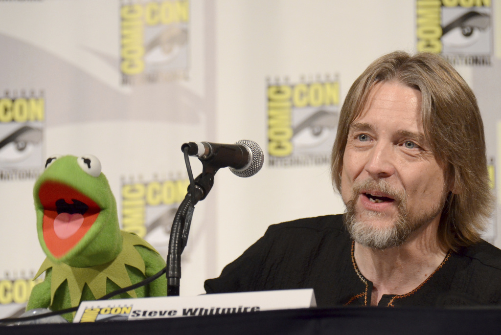 FILE - In this July 11, 2015, file photo, Kermit the Frog, left, and puppeteer Steve Whitmire attend