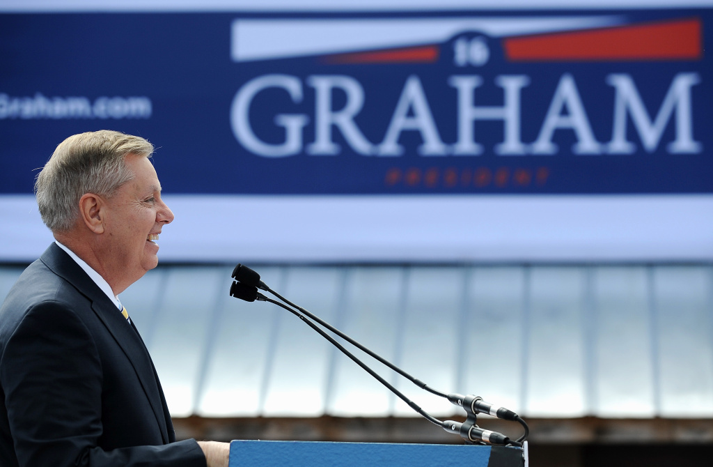Sen. Lindsey Graham, R-S.C. speaks to supporters after announcing his bid for presidential election in Central, S.C.