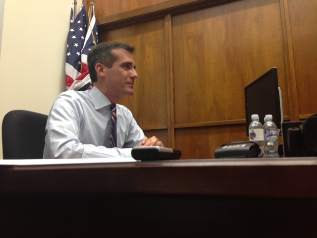 Mayor Eric Garcetti holds office hours on his first day as mayor.
