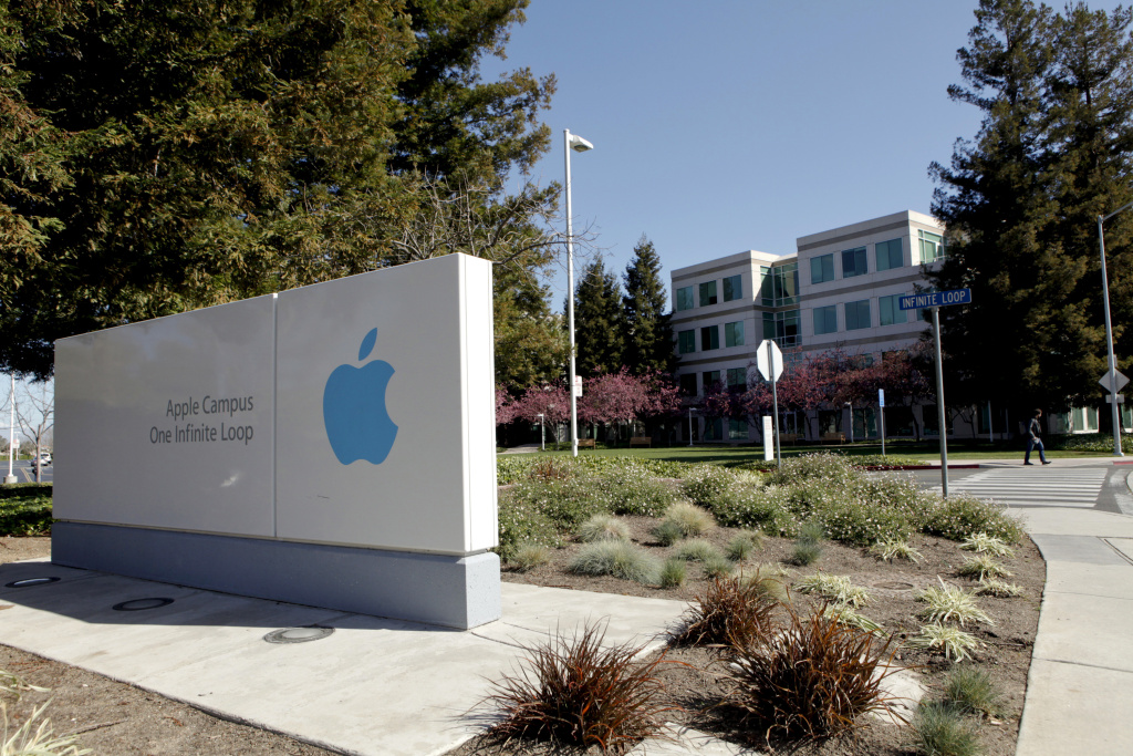 File: A view of the main entrance to Apple Inc. in Cupertino on Friday, March 11, 2011.
