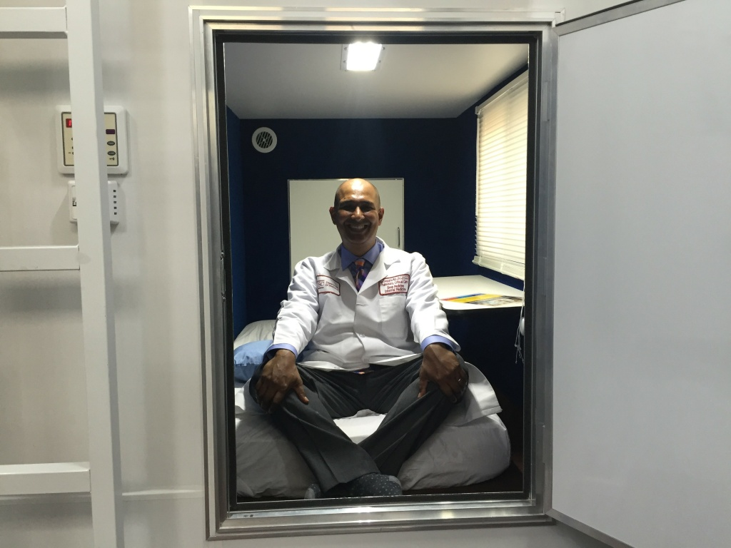 Dr. Raj tests out a Nappify pod