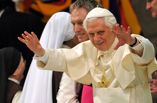Pope Benedict XVI gestures during his weekly general audience in the Paul VI hall at the Vatican on February 23, 2011.