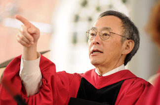 Energy Secretary Dr. Steven Chu gestures while receiving an honorary Doctor of Science during commencement ceremonies June 4, 2009 in Harvard Yard in Cambridge, Massachusetts.