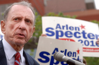 U.S. Sen. Arlen Specter (D-PA) campaigns outside Citizens Bank Park May 17, 2010 in Philadelphia, Pennsylvania. Specter, who switched political parties last year, faces U.S. Rep. Joe Sestak in the Democratic primary tomorrow.