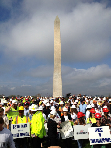 Construction workers at a rally on the National Mall, Tuesday, March 20, 2012.