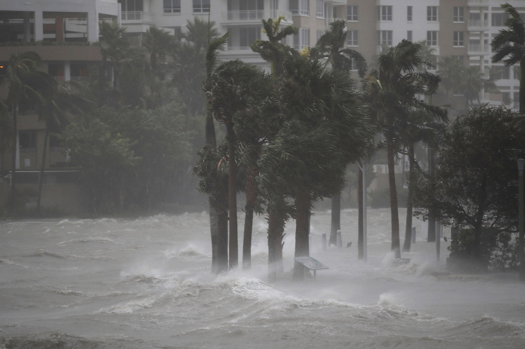 Hurricane Irma batters Miami, Florida on September 10, 2017 in Miami, Florida.