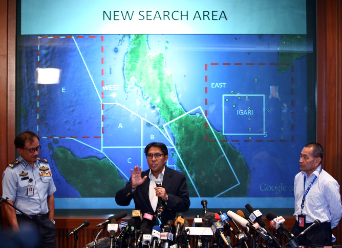 Dato' Azharuddin Abdul Rahman, director general of the Malaysian Department of Civil Aviation briefs the media over latest updates on missing Malaysia Airline MH370 on March 10, 2014 in Kuala Lumpur, Malaysia.  Potential sightings of possible airliner debris and a possible oil slick in the sea off Vietnam have not been officially verified or confirmed as investigative teams continue to search for the whereabouts of missing Malaysia Airlines flight MG370 and its 293 passengers, travelling from Kuala Lumpur to Beijing. The airliner was reported missing on the morning of March 8 after the crew failed to check in as scheduled. Relatives of the missing passengers have been advised to prepare for the worst as authorities focus on two passengers on board travelling with stolen passports.