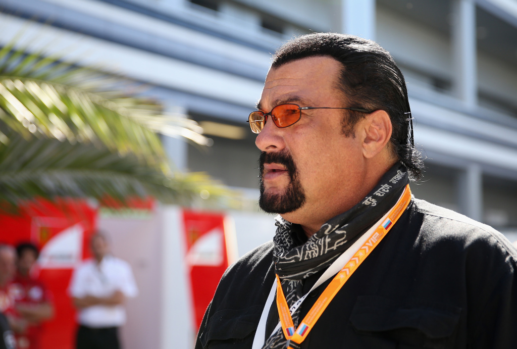 Actor Steven Seagal attends a qualifying race ahead of the Russian Formula One Grand Prix at Sochi Autodrom on October 11, 2014 in Sochi, Russia.
