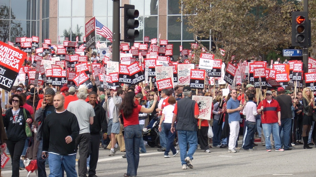 File photo of striking members of the Writers Guild picket in Century City during their last strike in 2007.