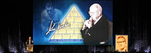 WESTWOOD, CA - JUNE 26, 2010: Coach Wooden's pyramid of success is displayed during the memorial service for former UCLA basketball coach John Wooden on June 26, 2010 at Pauley Pavilion on the University of California Los Angeles campus in Westwood, California. Wooden coached the Bruins basketball team for 27 years and won 10 NCAA championships.