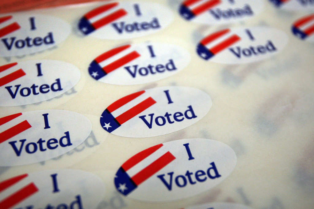 PASADENA, CA:  A sheet of voter stickers is seen inside Fire Station 38, as people go to the polls.