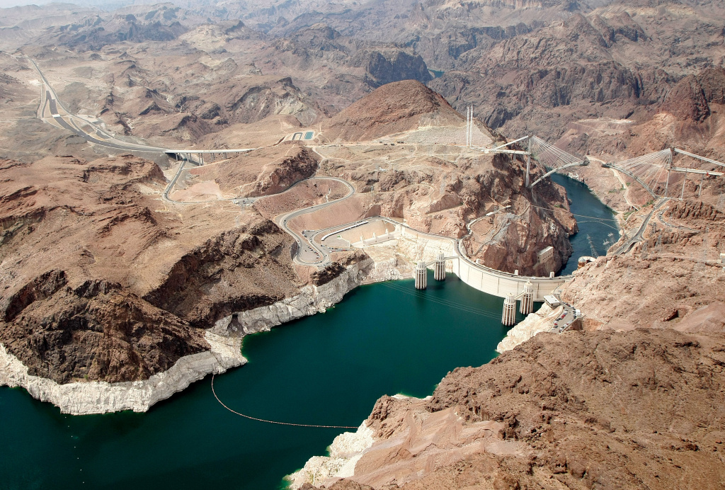 An aerial view of the Hoover Dam in the Lake Mead National Recreation Area of Arizona in 2009.