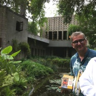 "David Kipen and Realtor Crosby Doe at Frank Lloyd Wright's Millard House in Pasadena. It's mentioned on p. 248 of ""California in the 1930s, the WPA Guide to the Golden State."""