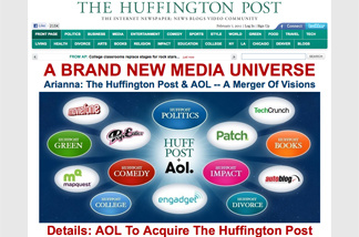 The Huffington Post homepage announcing their acquisition by AOL.