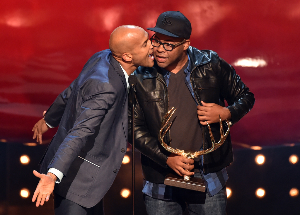 Comedians Keegan-Michael Key (L) and Jordan Peele of Key & Peele accept the Hottest Couple award onstage during Spike TV's