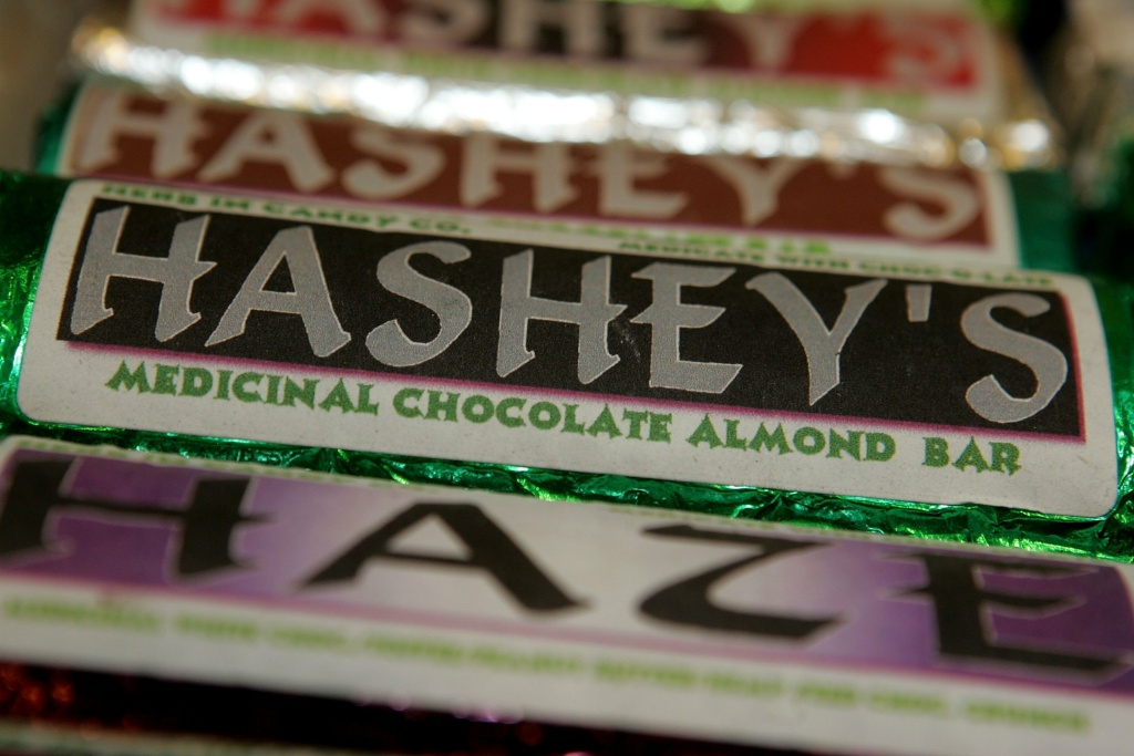 Candy bars laced with medical marijuana are seen on display at the Alternative Herbal Health Services cannabis dispensary April 24, 2006 in San Francisco, California.
