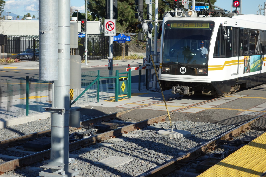 FILE: An Expo Line train heads out of Farmdale Station heading for Culver City.