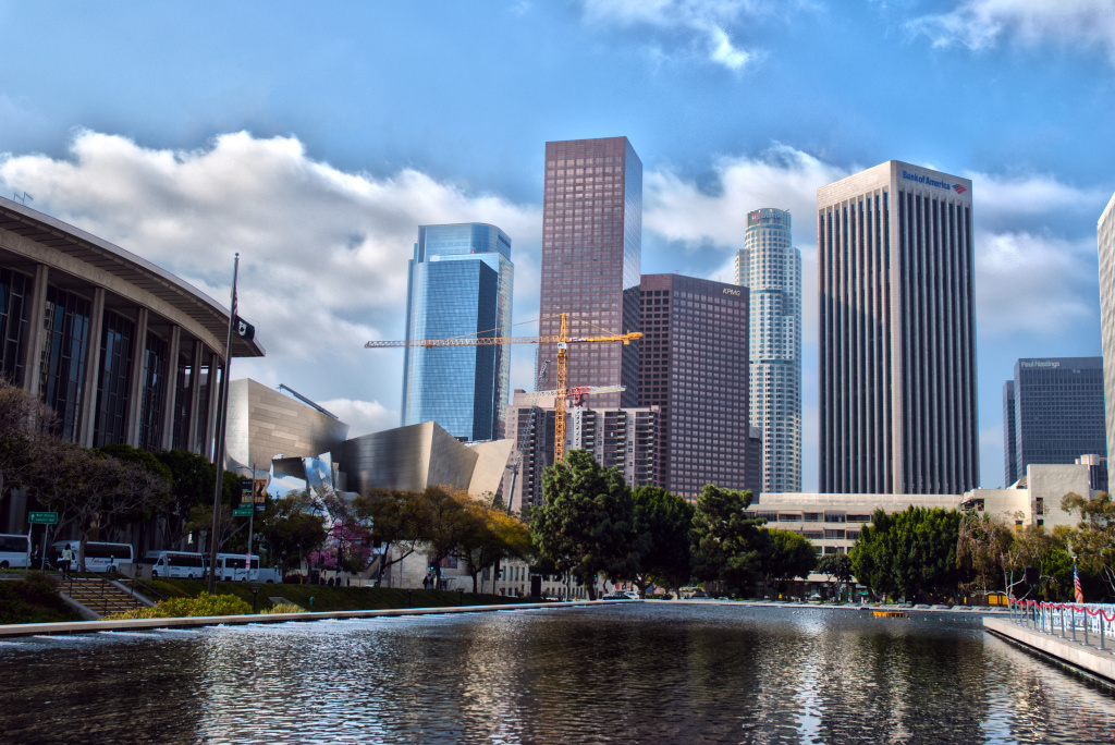 The Downtown Los Angeles skyline on the morning of Al Gore's visit in which he congratulated Mayor Antonio Villaraigosa and the city for committing itself to cleaner energy alternatives, March 22. (This is an HDR image.)