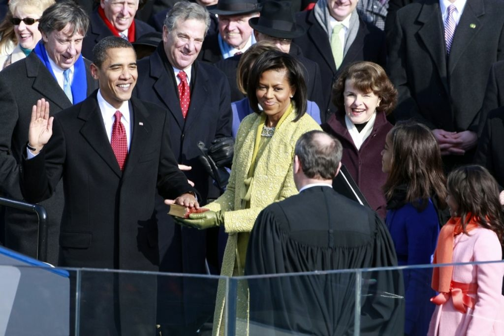 Barack Obama is sworn in by Chief Justice John Roberts as the 44th president of the United States of America on the West Front of the Capitol Jan. 20, 2009 in Washington, DC.