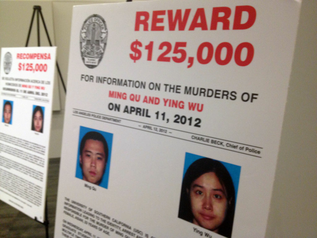 The reward sign for the USC murder case showed at the press conference announcing the arrest of suspects.