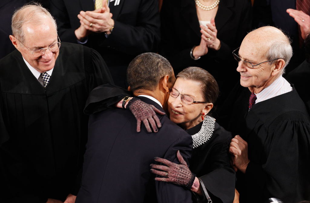 U.S President Barack Obama (C) greets (L-R) Supreme Court Justices Anthony Kennedy, Ruth Bader Ginsburg and Stephen Breyer before the State of the Union address on Capitol Hill on January 25, 2011 in Washington, DC.