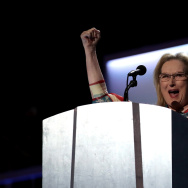 PHILADELPHIA, PA - JULY 26:  Actress Meryl Streep delivers remarks on the second day of the Democratic National Convention at the Wells Fargo Center, July 26, 2016 in Philadelphia, Pennsylvania. Democratic presidential candidate Hillary Clinton received the number of votes needed to secure the party's nomination. An estimated 50,000 people are expected in Philadelphia, including hundreds of protesters and members of the media. The four-day Democratic National Convention kicked off July 25.  (Photo by Drew Angerer/Getty Images)