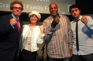 Greg Proops, Patt, Alonzo Bodden, and Ben Gleib after Comedy Congress live from the Crawford Family Forum