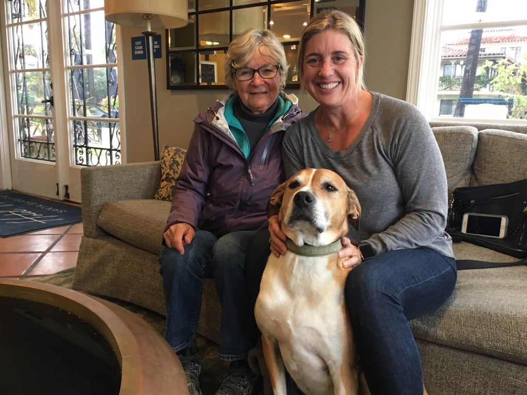 Gretchen Horn, right, mother-in-law Judy Horn, and dog Coco are on their seventh evacuation since the Thomas Fire threatened their Montecito home in December and debris flows damaged it in January. They are pictured at the Hotel Milo in Santa Barbara, on March 21, 2018, where they are staying along with many other evacuees.