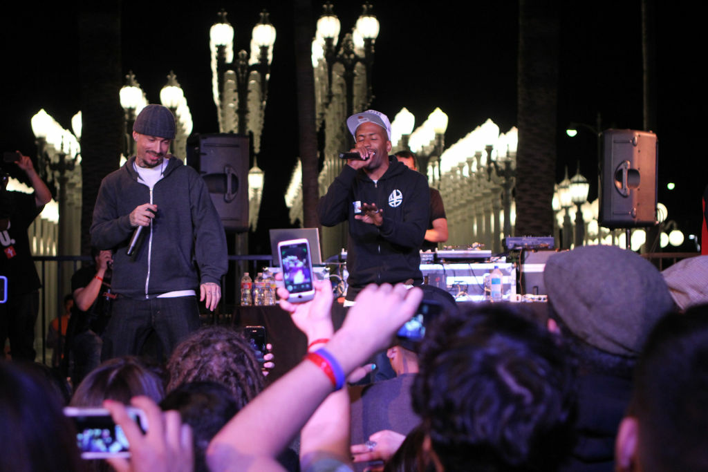 Murs takes the stage with his 3 Melancholy Gypsys bandmate Eligh. The two attended the same high school, along with their third group member, Scarab.