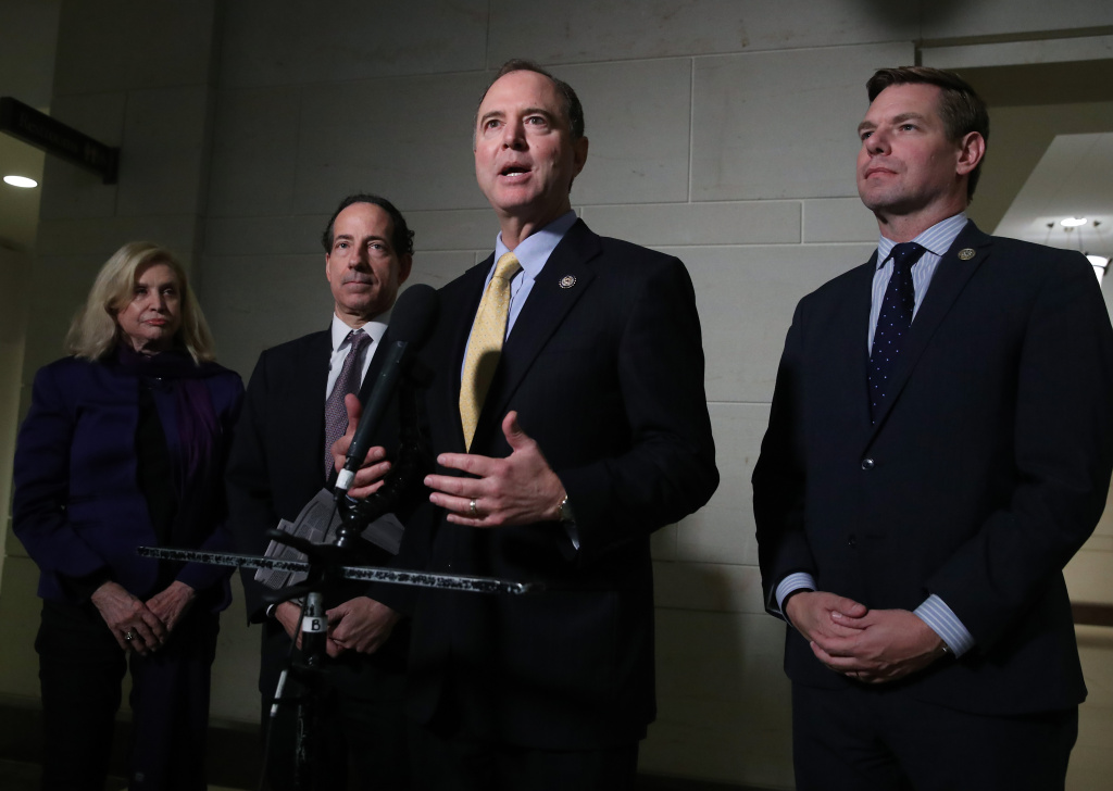 U.S. House Intelligence Committee Chairman Rep. Adam Schiff (D-CA) speaks to members of the media outside a closed session before the House Intelligence, Foreign Affairs and Oversight committees at the U.S. Capitol on October 28, 2019 in Washington, DC.