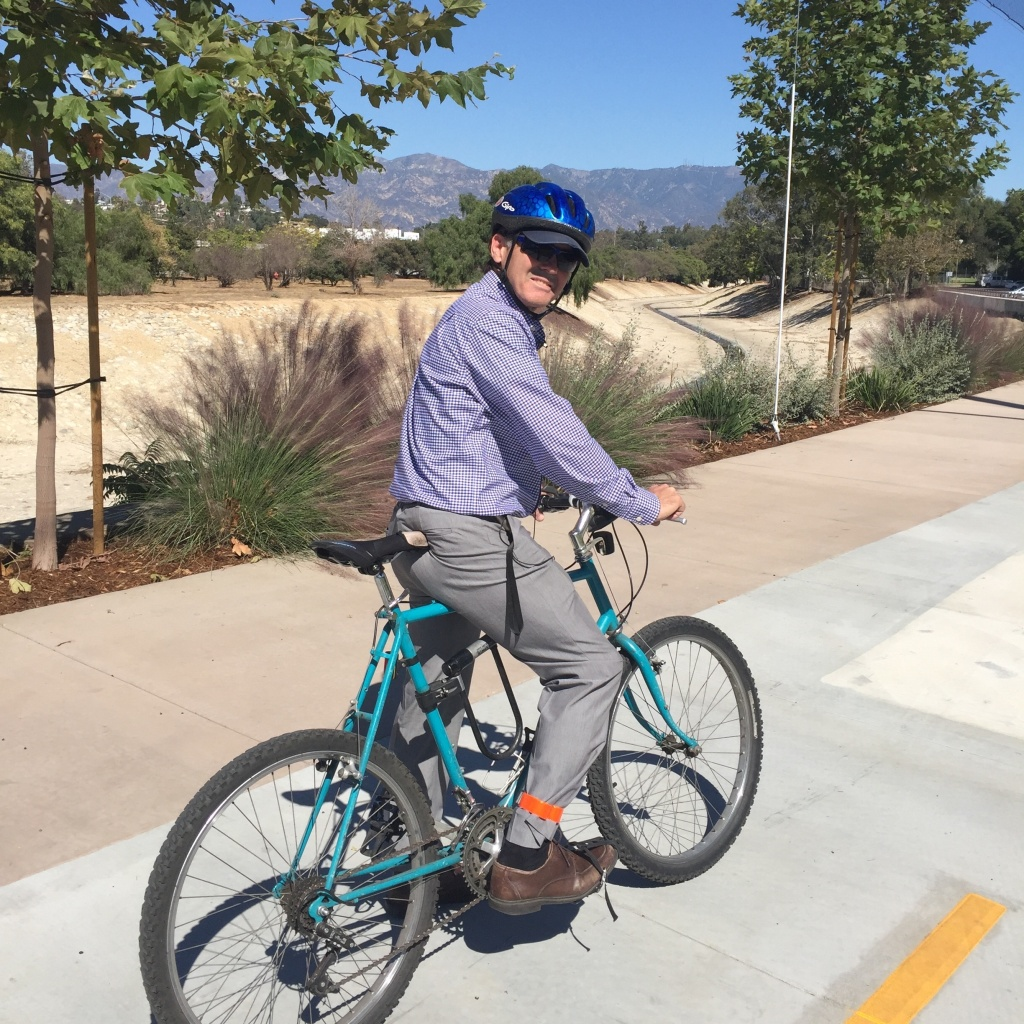 South Pasadena City Councilman Michael Cacciotti takes a minute to admire the view along his city's new Arroyo Seco bike trail, which opened October 20. He says it's the first time in 65 years that people have been able to enjoy this particular view of the entire western San Gabriel Valley, looking north toward Pasadena.