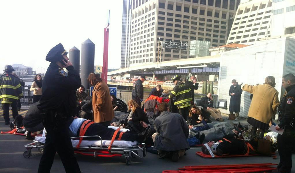 Former KPCC journalist Julie Westfall tweeted this photo from the dock after a ferry accident on January 9, 2013 in New York City.