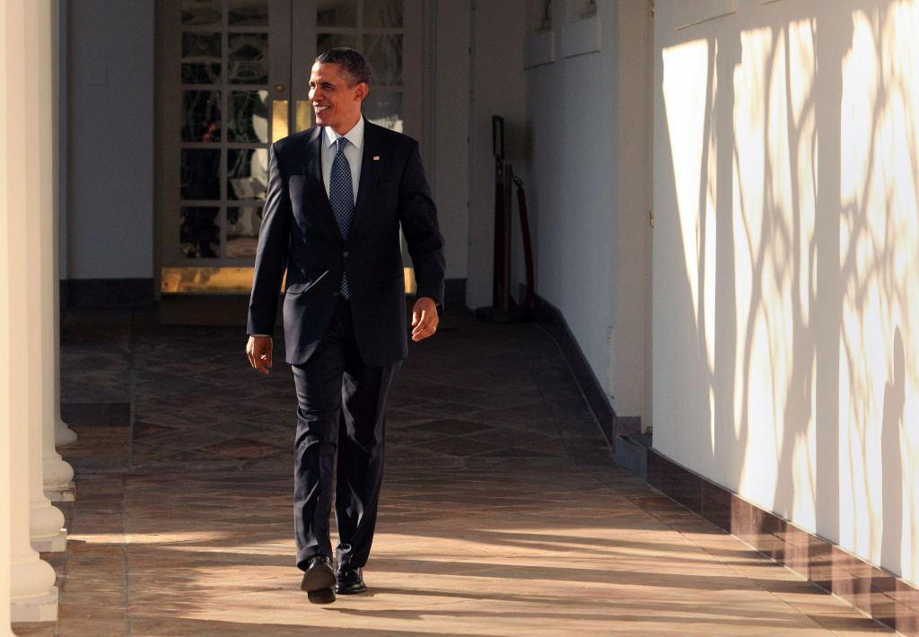 President Barack Obama walks the Colonnade hours before giving the State of the Union Speech at the White House January 24, 2012 in Washington, DC.