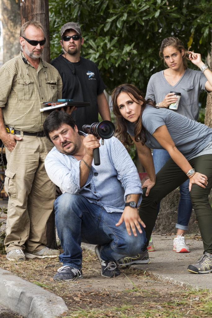 (Foreground) Director of photography Lorenzo Senatore and director Gabriela Cowperthwaite on the set of