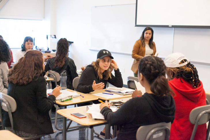 Leslie Tejada teaches English 100 at West Los Angeles College in Los Angeles, Calif. on Thursday, Nov. 3, 2016.