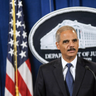 U.S. Attorney General Eric Holder speaks during a press conference announcing Department of Justice plans to sue North Carolina over Voter ID regulations at the Department of Justice.