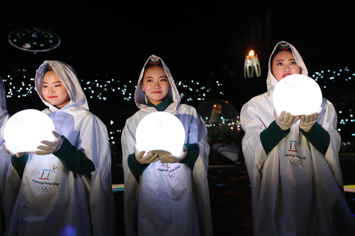 Dancers perform during the closing ceremony of the Pyeongchang 2018 Winter Olympic Games at the Pyeongchang Stadium on February 25, 2018.