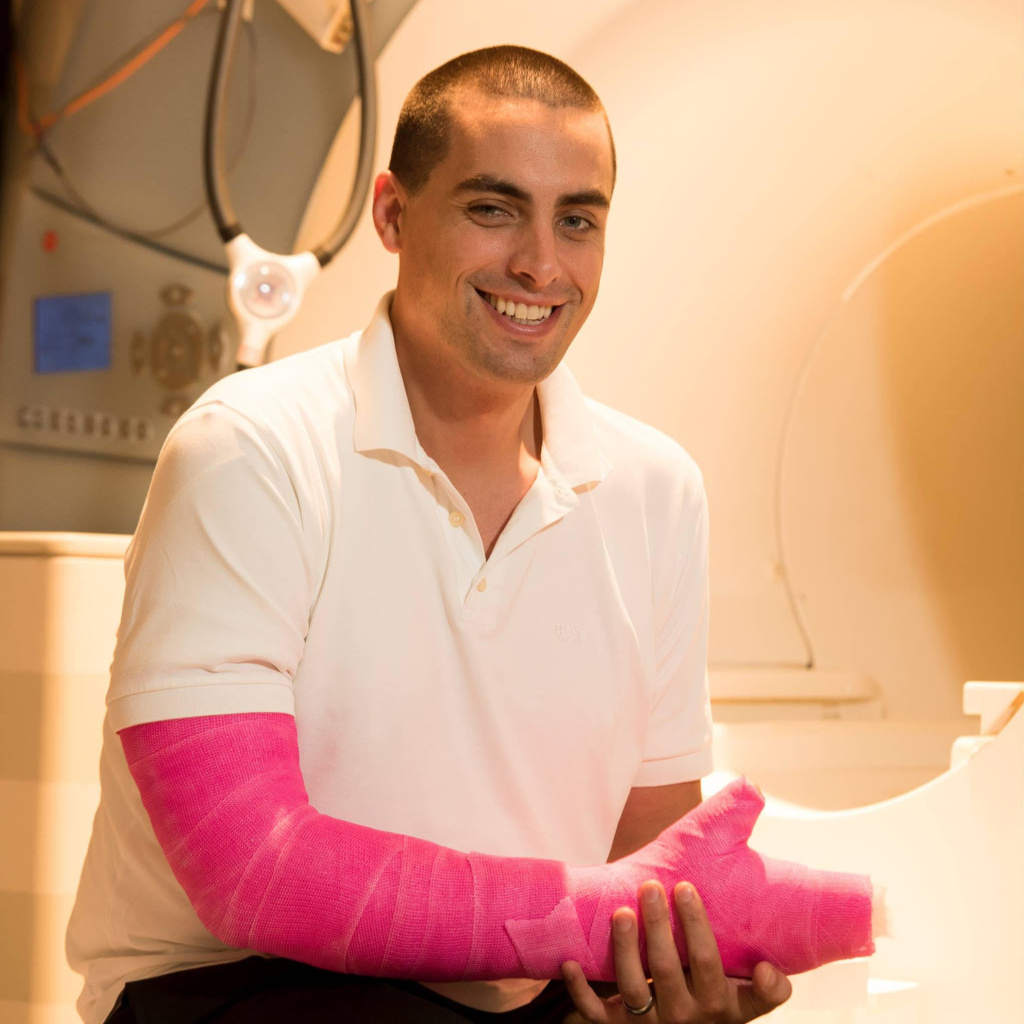 Nico Dosenbach decided to put his healthy arm in a cast to figure out more about how the brain deals with an immobilized limb.