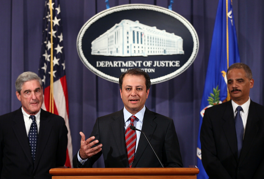 WASHINGTON, DC - OCTOBER 11:  U.S. Attorney General Eric Holder (R), Preet Bharara, U.S. Attorney for the Southern District of New York (C), and FBI Director Robert Mueller (L) announce a plot was foiled involving men allegedly linked to the Iranian government to kill the Saudi ambassador to the U.S. and to bomb the embassies of Saudi Arabia and Israel in Washington.