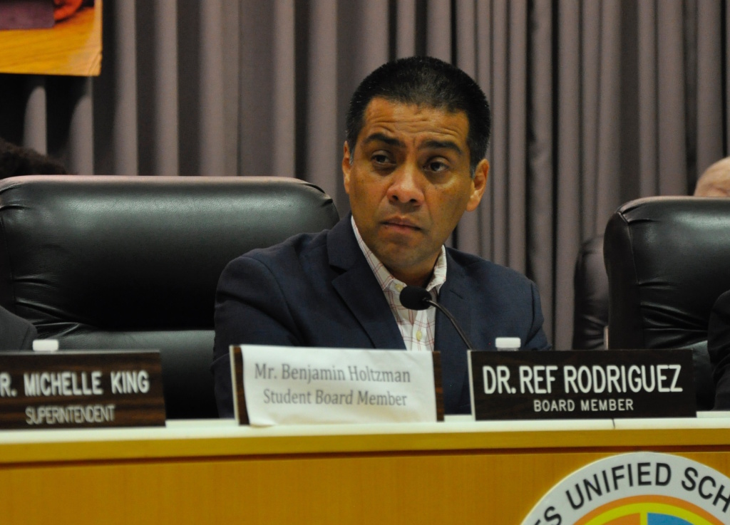 Los Angeles Unified School Board member Ref Rodriguez attends a meeting in this Aug. 22, 2017 file photo.