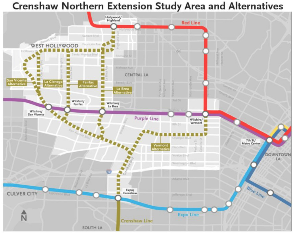 A feasibility study from L.A. Metro shows the five route options for the Crenshaw Line Northern Extension, which is not scheduled for completion until the 2040s.