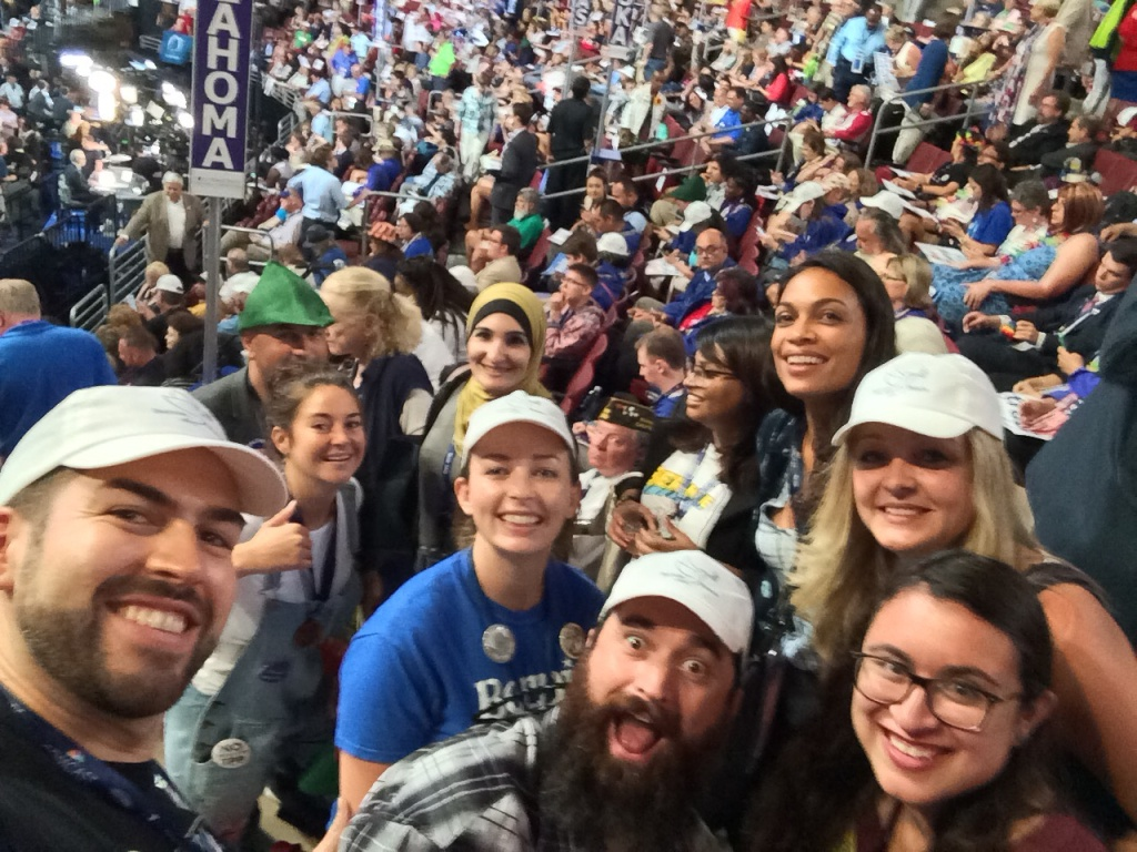 Alex Calleros (L), a delegate from California's 28th District, poses for a selfie with fellow Bernie Sanders supporters.