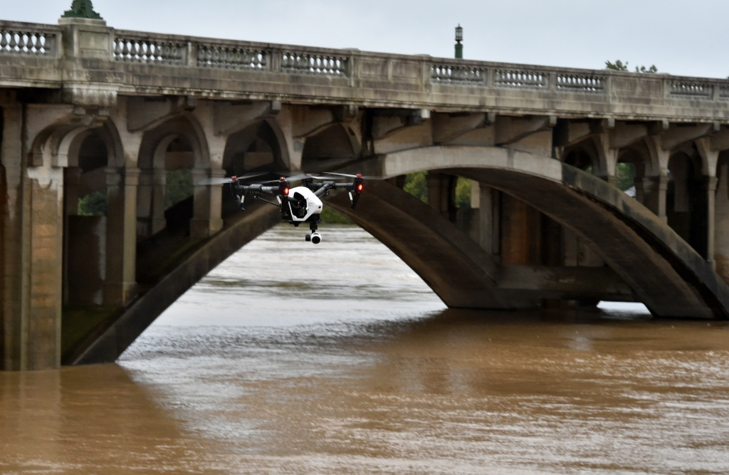 A drone flies over the swollen Congaree River in Columbia in South Carolina on October 5, 2015.