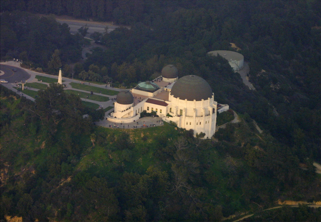 An aerial view of the Griffith Observatory sits on the hills in Hollywood, CA.