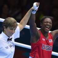 Claressa Shields of the USA (R) celebrates