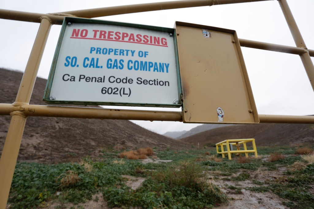 A sign marking the boundary of the Aliso Canyon storage facility is pictured in Porter Ranch on Jan. 6, 2016.